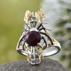 Jewelry - Elongated Spider Ring Made W/SWAROVSKI Red Crystal